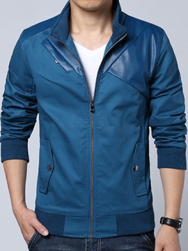 Stand Color Pu Patchwork Zip Up Mens Jacket