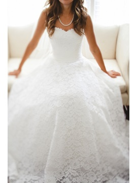 Floor Length A Line Sweetheart White Lace Wedding Dress