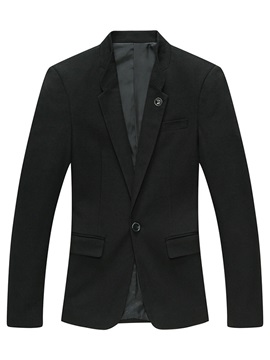 Solid Color Lapel One Button Mens Casual Blazer