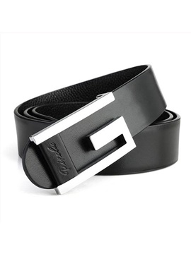 Smooth Buckle Type Leather Mens Belt