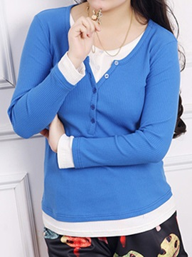 Casual Button Decoration Collar Plus Size T Shirt