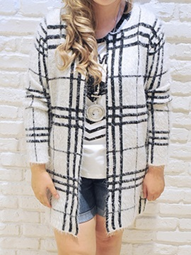 Stylish Big Plaid Plus Size Cardigan