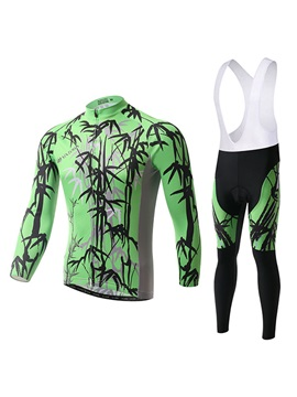 Green Bamboo Print Cycle Jersey And Bib Pant