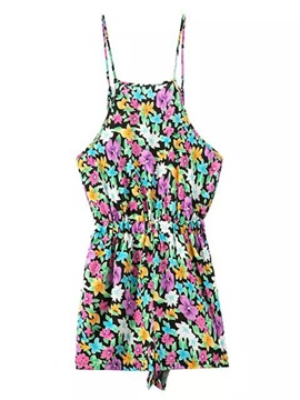 Multicolor Printing Sleeveless Romper