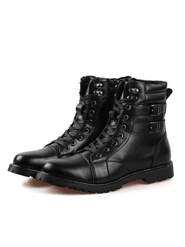 British Buckles Round Toe Lace Up Boots