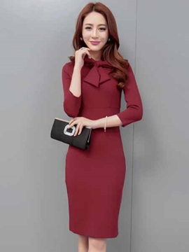 Chic Solid Color Bodycon Dress With Bowknot