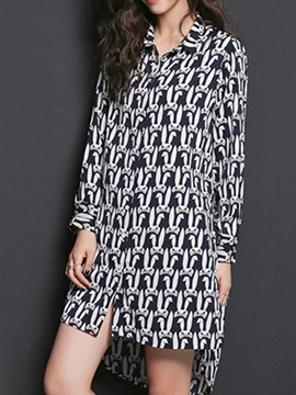 Asymmetric Lapel Long Sleeve Print Day Dress