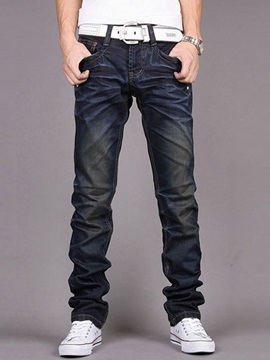 Slim Fit Straight Big Pockets Mens Denim Pants