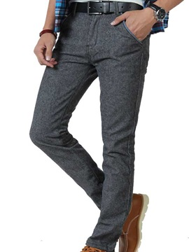 Straight Slim Fit Middle Waist Mens Casual Pants