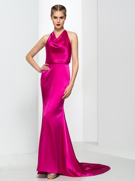 Timeless Halter Draped Long Mermaid Evening Dress