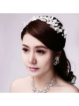Pearls Lace White Wedding Hair Flowers