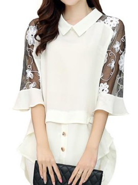 Stylish Half Lace Sleeves Work Blouse