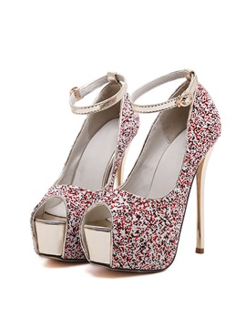 Sequins Peep Toe Stiletto Heel Sandals
