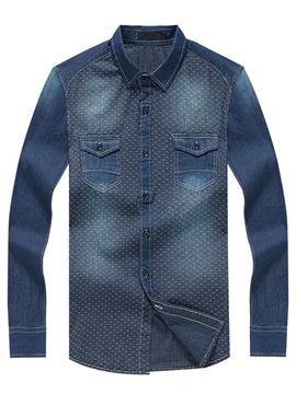 Dots Printed Chest Pockets Lapel Mens Jacquard Shirts