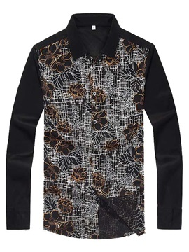 Color Block Floral Printed Mens Mecerized Cotton Shirts