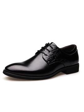 Pu Plain Toe Square Heel Dress Shoes