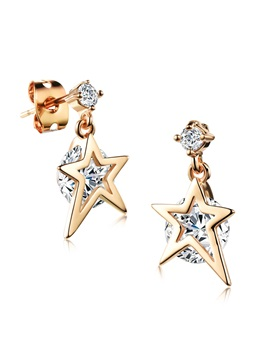 E Plating Pentagram Shape Women Earrings