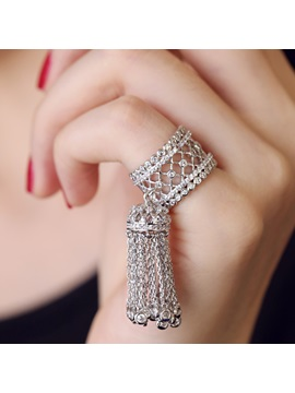 Zircon Tassel Alloy Women Ring
