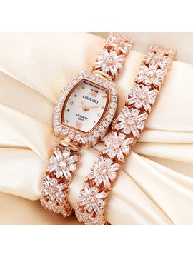 Round With Rhinestones Alloy Band Women Watch