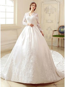 V Neck Long Sleeve Cathedral Ball Gown Wedding Dress