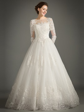 Floor Length A Line Lace Long Sleeve Wedding Dress