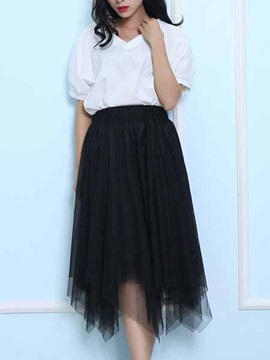 Asymmetric Solid Color Knee Length Skirt