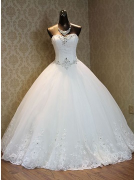 Strapless Beaded Sweetheart Lace Ball Gown Wedding Dress