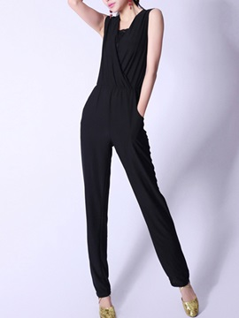 Slimming Pleated Sleeveless Jumpsuit