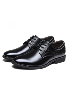 Elegant Embossed Pu Plain Toe Dress Shoes