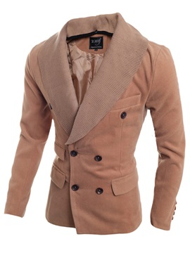 Knit Lapel Double Breasted Solid Color Mens Coat