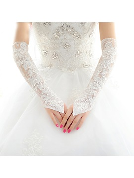 Beaded Lace White Long Wedding Gloves Fingerless