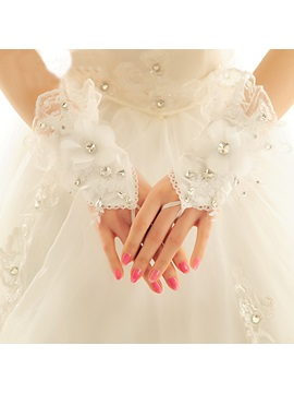 Floral Lace Ivory Finger Less Wedding Gloves