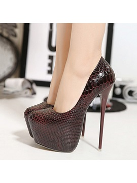 Embossed Pu Stiletto Heel Slip On Pumps