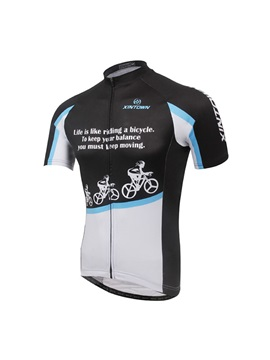 Letters And Bikers Print Mens Cycle Jersey