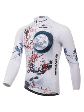 Plum Blossom Print Long Sleeve Cycle Jersey
