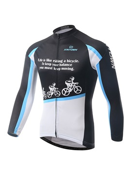 Letters Print Long Sleeve Mens Cycle Jersey