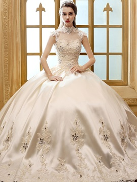 Beaded Lace High Neck Satin Ball Gown Wedding Dress