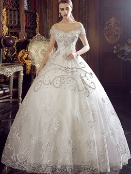 Luxurious Off The Shoulder Beaded Lace Up Wedding Dress