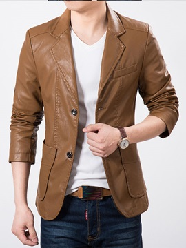 Notched Collar Two Buttons Solid Color Mens Pu Blazer