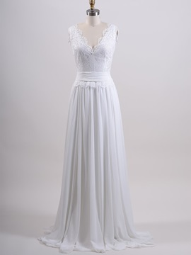 V Neck Lace Top White Chiffon Long Beach Wedding Dress