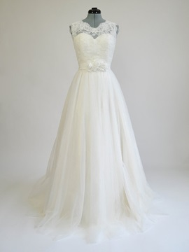Floor Length A Line Illusion Lace Ivory Wedding Dress