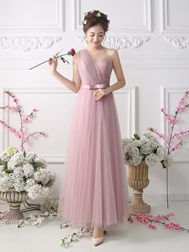 Ankle Length A Line Sweetheart One Shoulder Bridesmaid Dress