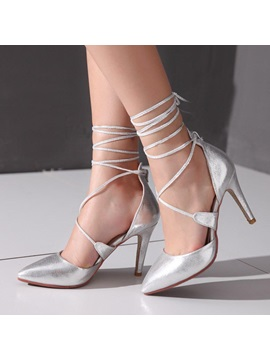 Pu Round Toe Lace Up Pumps