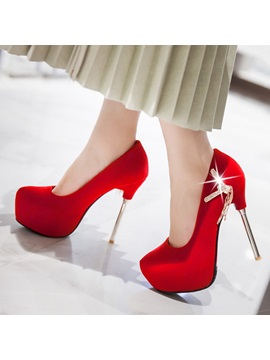 Solid Color Rhinestone Platform Stiletto Heel Prom Shoes