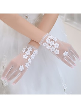 White Floral Tulle Wedding Gloves