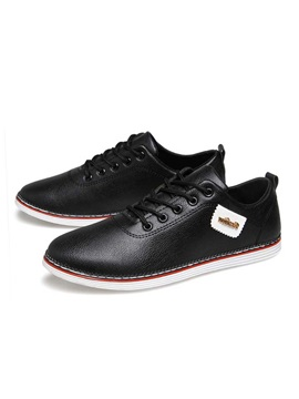 Fashion Pu Plain Toe Lace Up Mens Casual Shoes