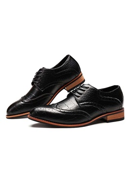 Embossed Pu Wingtip Lace Up Brogues