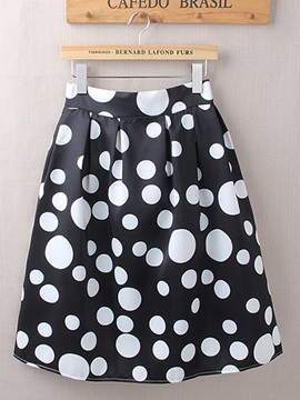 Polka Dots Contrast Color Mini Skirt