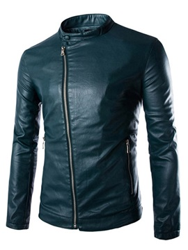 Stand Collar Oblique Zipper Mens Leather Jacket