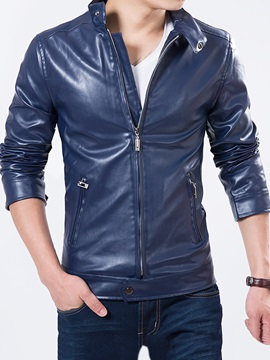 Solid Color Stand Collar Mens Pu Biker Jacket